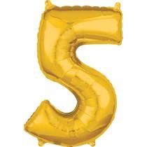 Balónek fóliový narozeniny číslo 5 zlatý 66cm