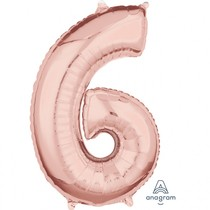 Balónek fóliový narozeniny číslo 6 růžovo-zlaté 66cm