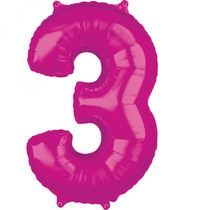 3. narozeniny balónek fóliový číslo 3 růžový 66 cm