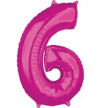 6. narozeniny balónek fóliový číslo 6 růžový 66 cm