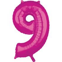 9. narozeniny balónek fóliový číslo 9 růžový 66 cm