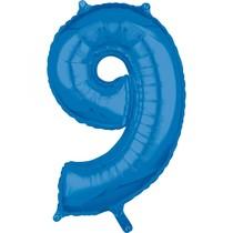 9. narozeniny balónek fóliový číslo 9 modrý 66 cm