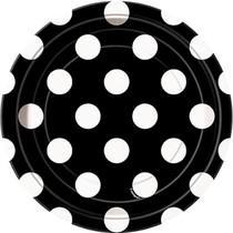 Talíře černo - bílé tečky 8ks 18cm