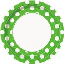 Talíře zeleno - bílé tečky 8ks 23cm
