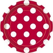 Talíře červeno - bílé tečky 8ks 18cm