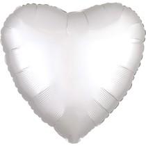 Balónek srdce foliové satén bílé