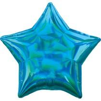 Balónek hvězda holografická modrá