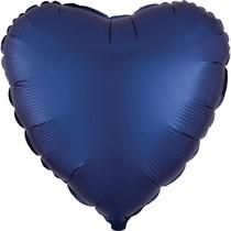 Balónek srdce foliové satén tmavě modrý