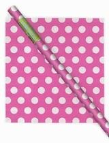 Balící papír růžovo  - bílé tečky