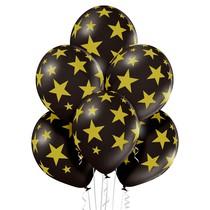 Balónky černé s potiskem zlaté hvězdy 6 ks 30 cm