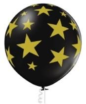 Balón černý s potiskem zlaté hvězdy 60 cm B 250
