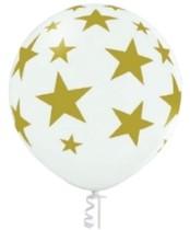 Balón bílý s potiskem zlaté hvězdy 60 cm B 250