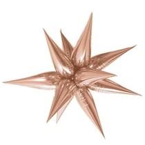 Hvězda růžovo-zlatá 100 cm 3D foliový balón