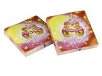 Ubrousky šťastné narozeniny dort 20ks