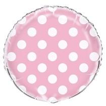 Fóliový balónek světle růžové - bílé tečky 45cm