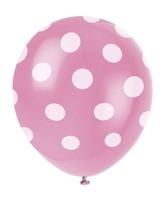 Balónky růžové s puntíky 6ks