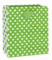 Taška na dárek zeleno - bílé tečky