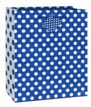 Taška na dárek modro - bílé tečky