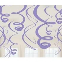 Závěsná dekorace fialová 12ks 55,8cm