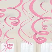 Závěsná dekorace světle růžová 12ks 55,8cm