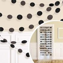 Závěsná dekorace černá s glitry 6 ks, 213 cm