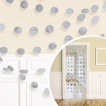 Závěsná dekorace stříbrná s glitry 6 ks, 213 cm