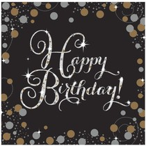 Ubrousky šťastné narozeniny zlaté 16 ks 33 cm x 33 cm