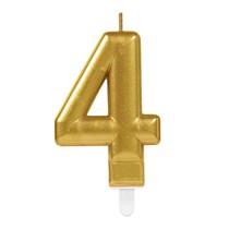 Svíčka číslo 4 zlatá