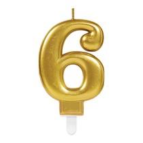 Svíčka číslo 6 zlatá