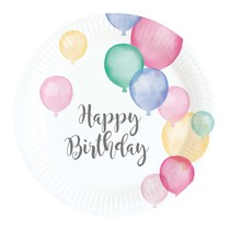 Talíře balónky narozeniny 8 ks 17,7 cm
