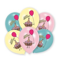Balónky šťastné narozeniny mix 6 ks 27,5 cm