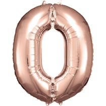 Balónek fóliový narozeniny číslo 0 růžovo-zlaté 86cm