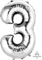 Balónek fóliový narozeniny číslo 3 stříbrný 86 cm