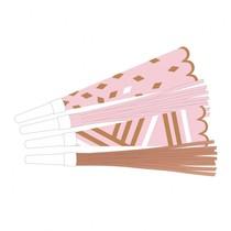 Trumpety růžovo-zlaté 6ks 22,5 cm