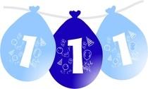 Balonky narozeniny číslo 1, visící 5ks modré