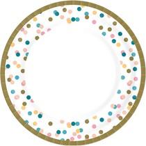 Papírové talíře tečky 10 ks, bio Ø 22 cm
