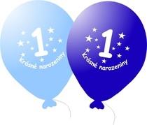 Balónek modrý KRÁSNÉ NAROZENINY číslo 1 - 5 ks
