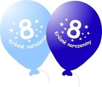 Narozeninové balónky modré s potiskem 8 - 5 ks