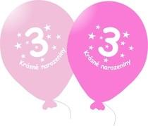 Narozeninové balónky růžové s potiskem 3 - 5 ks