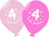 Narozeninové balónky růžové s potiskem 4 - 5 ks