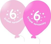 Narozeninové balónky růžové s potiskem 6 - 5 ks