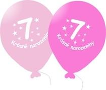 Narozeninové balónky růžové s potiskem 7 - 5 ks