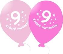 Narozeninové balónky růžové s potiskem 9 - 5 ks