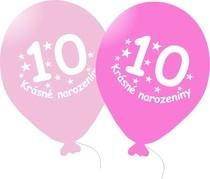 Narozeninové balónky růžové s potiskem 10 - 5 ks