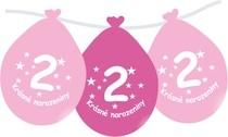 Narozeninové balónky růžové s potiskem 2 visící - 5 ks