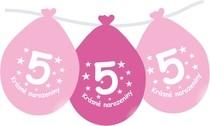 Narozeninové balónky růžové s potiskem 5 visící - 5 ks