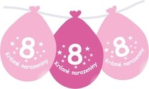 Narozeninové balónky růžové s potiskem 8 visící - 5 ks