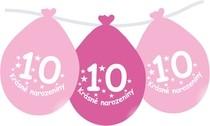 Narozeninové balónky růžové s potiskem 10 visící - 5 ks