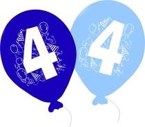 Balonky narozeniny 5ks s číslem 4 pro kluky