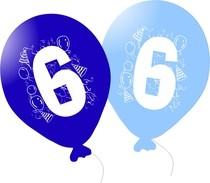 Balonky narozeniny 5ks s číslem 6 pro kluky